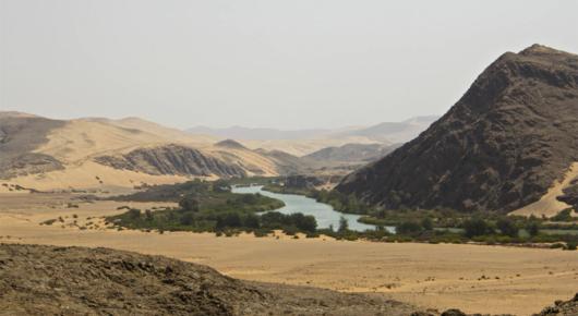 The Kunene river with Angola beyond