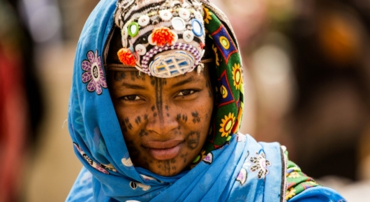 A beautifully decorated woman in Kach Kacha market