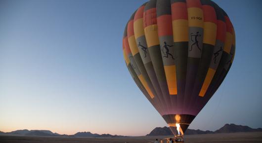 Hot air balloon before take off