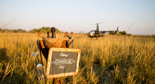 Getting to sundowners by helicopter
