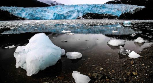Patagonian fjord and glacier