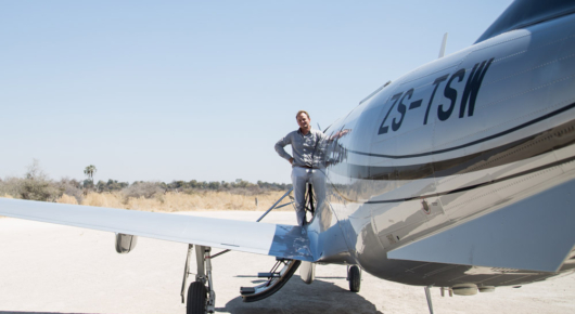 Pilot extraordinaire - Pete Hammond. and our sexy plane for the expedition