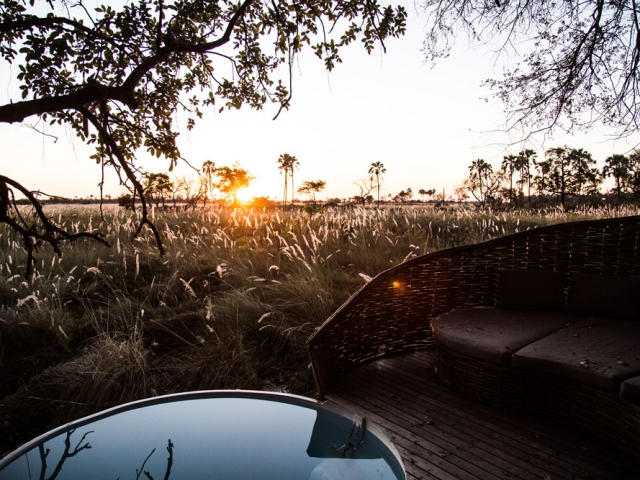 Sunset from Sandibe Lodge room plunge pool