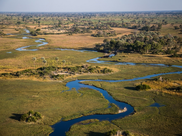 The waterways of the Okavango Delta from the air - Botswana