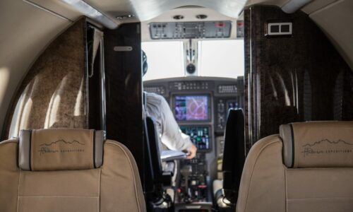 Private aircraft. Pilatus PC12. Okavango Delta. Botswana