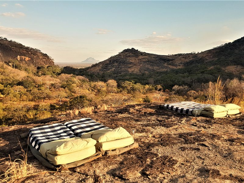 Bedroll on mountain